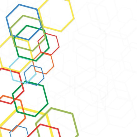 Abstract geometric background with hexagons on the sides. Illustration