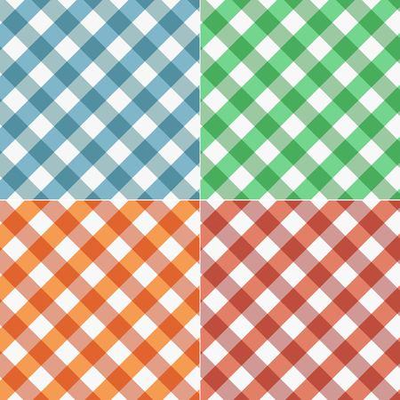 Set of gingham seamless pattern