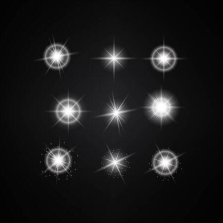 Vector Set of Different White Lights. Different Stars Collection. Star Lights Ilustração
