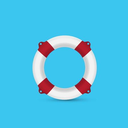 Red lifebuoy on a blue background Illustration