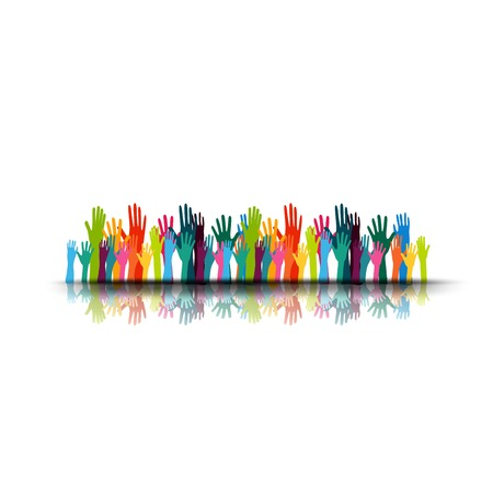 vector illustration of a group people hands up, volunteer or voting concept background, human hand Vectores