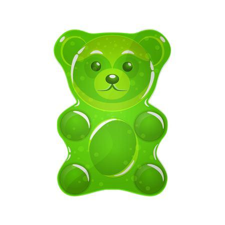 Ilustración de vector de neón verde jalea oso.