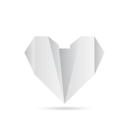 Fold a piece of paper as a heart shape