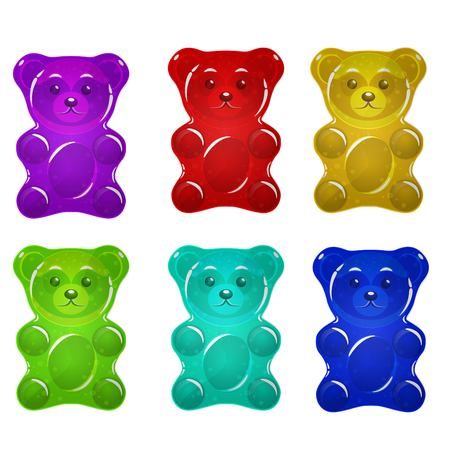 Jelly bears set vector illustration. Illustration