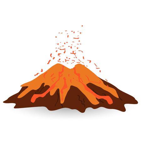 Volcano isolated on white photo-realistic vector illustration Illustration