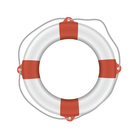 White lifebuoy with red stripes and rope. Isolated Vector illustration