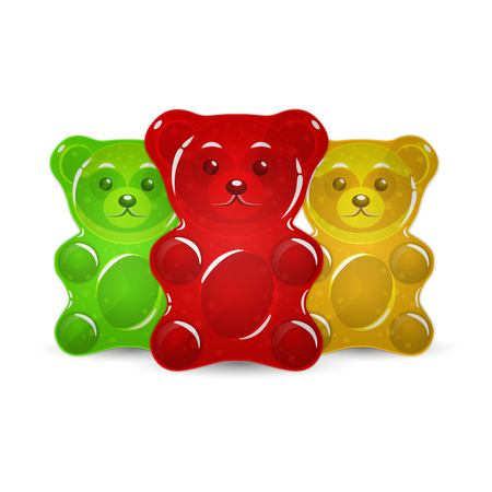 Jelly bears set vector illustration. Çizim