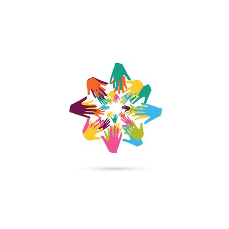 Hände zusammen . Herz-Symbol . Vektor-Illustration Vektorgrafik