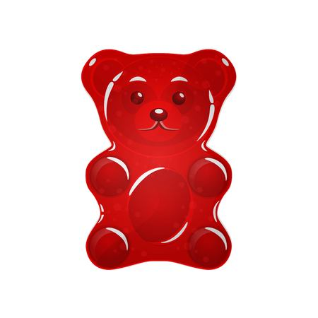 red Jelly bear on a white background.