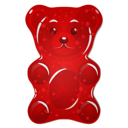 rouge gommeux bonbons à l & # 39 ; ours isolé sur fond blanc