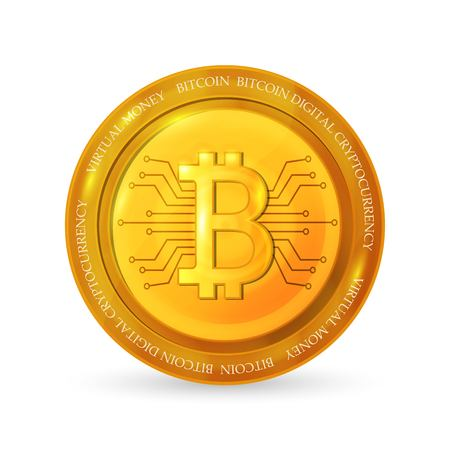Golden bitcoin coin. Realistic vector illustration. 矢量图像