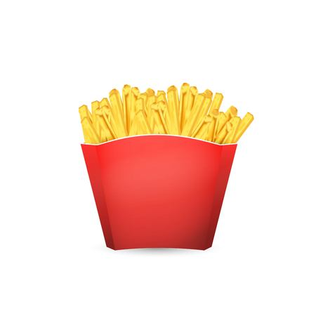 French Fries in Red Bucket. Vector illustration of fast food.