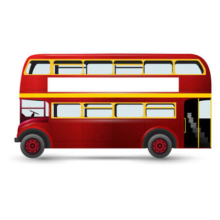 London red bus vector illustration isolated on white background
