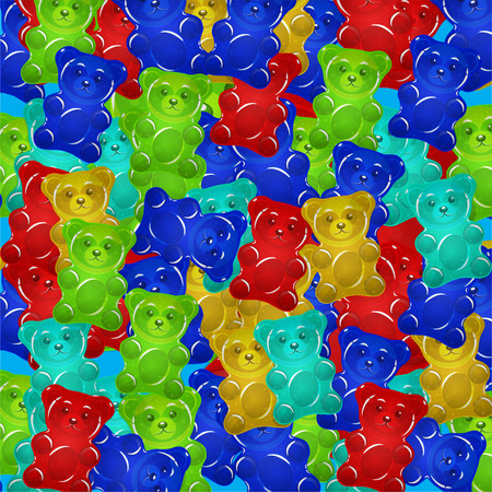 Colorful gummy bears candies background.