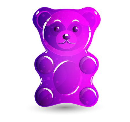 Pink gummy bear vector Illustration