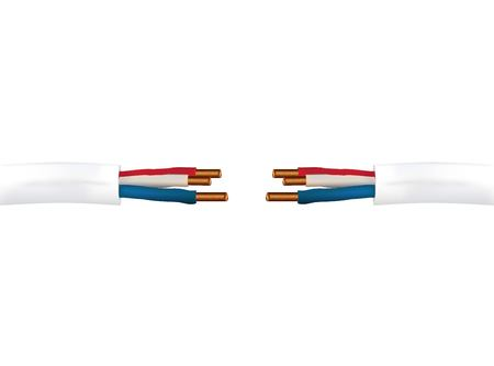 A realistic 3d vector electrical cable with wires ground and phase. Isolated illustration on white background Illustration