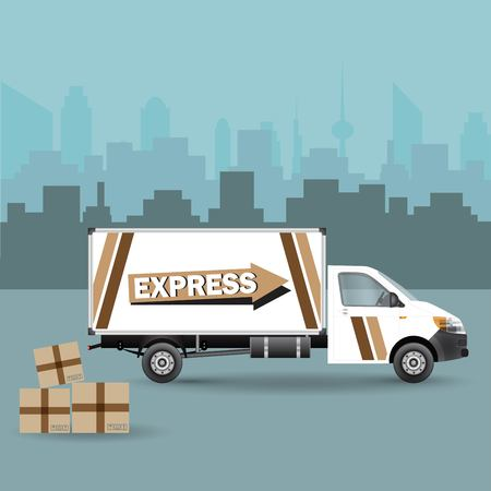 A Vector Commercial Vehicle isolated on plain background.