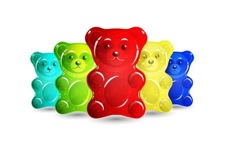 Niedźwiedzie galaretki zestaw na białym tle na prostym tle. Ilustracje wektorowe