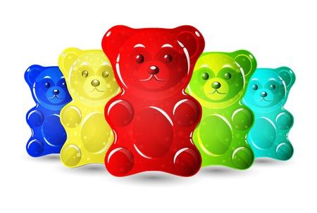 Jelly bears set isolated on plain background.