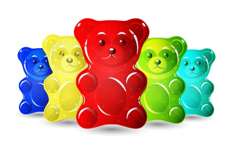 Jelly bears set isolated on plain background.