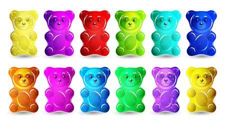 Gummy bear isolated on plain background.
