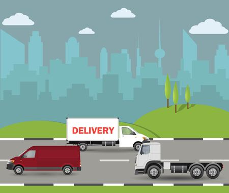Electric vehicles on the road. Car, truck and autonomous bus Vector illustration