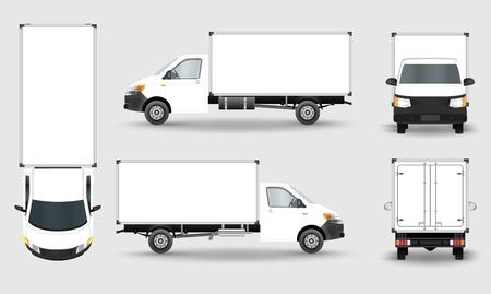 Cargo Truck Van isolated on plain background.