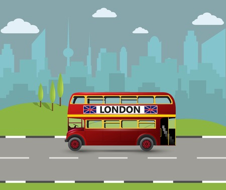 A Red London Double Decker bus isolated on plain background.