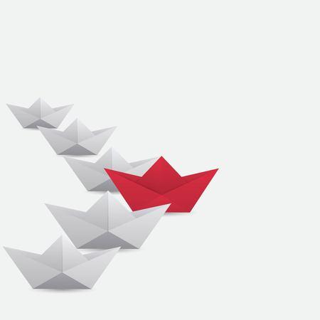 Red winner paper ship Vettoriali