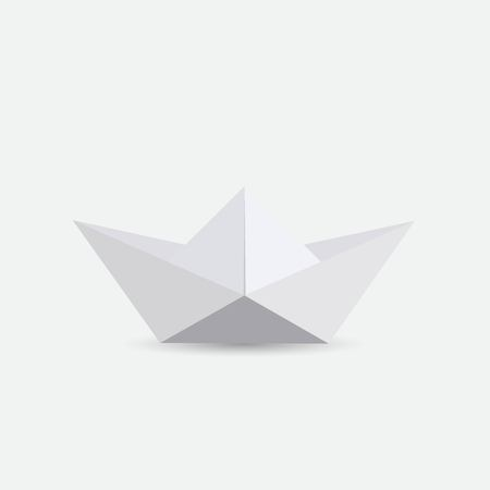 Illustration of a white origami boat Иллюстрация