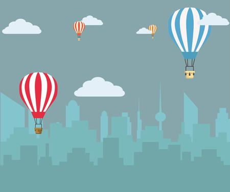 Hot air balloons flying over the town.Vector Illustration
