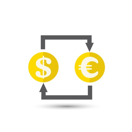 Currency exchange outline icon Illustration