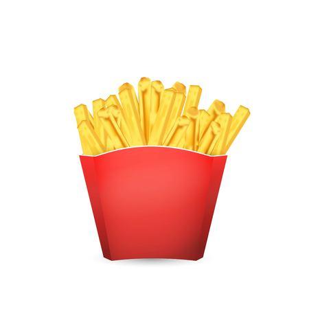 Papas fritas patata en cubo rojo. Ilustración de vector de comida rápida. Ilustración de vector