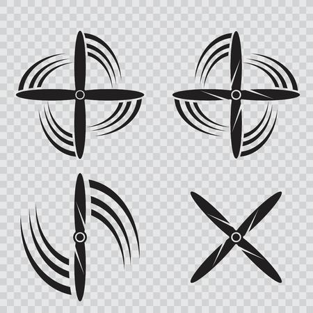 Set of aircraft screw in flat style. Airplane propellers on white background Illustration