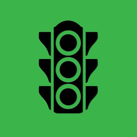 traffic light on a green background Illustration