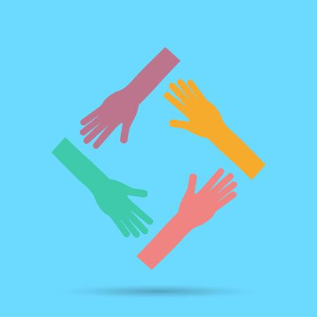 Hands connecting icon. Vector