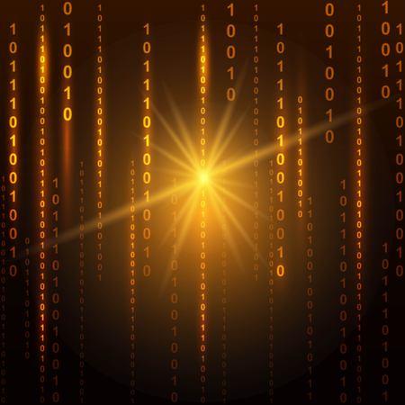 Abstract binary code on orange background of Matrix style