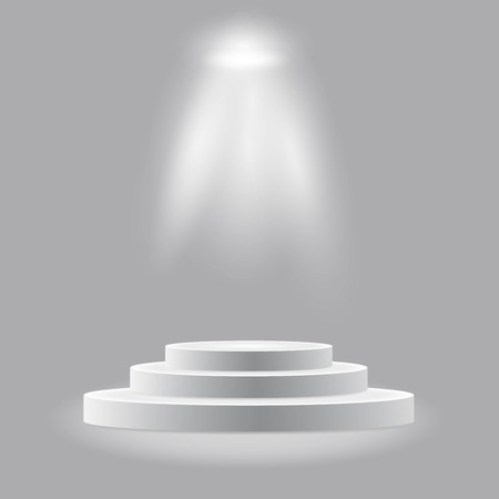 Round podium, pedestal or platform illuminated by spotlights on white background. Stage with scenic lights. Vector illustration. Illustration