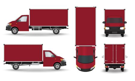 Red Small truck. Silhouette.