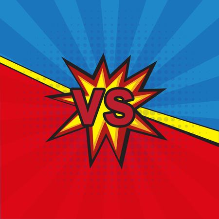 Comic book versus template background, classic pop-art style, superhero battle intro  イラスト・ベクター素材