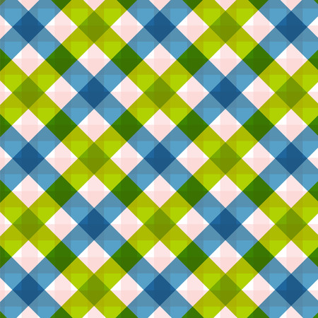 Blue green diagonal checkered plaid Retro tablecloth texture