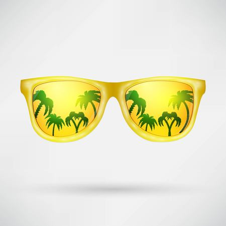 Beach reflection in glasses