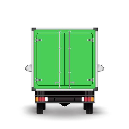 Green truck icon illustration on white background.
