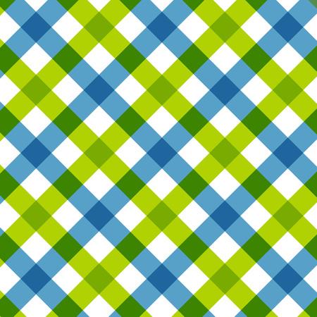 Blue green diagonal checkered. Retro tablecloth texture.