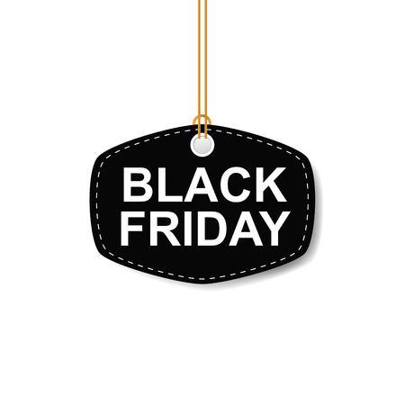 Vector illustration of Black Friday sales tag on white background Stock Illustratie