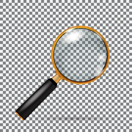 Realistic vector golden magnifying glass without mesh
