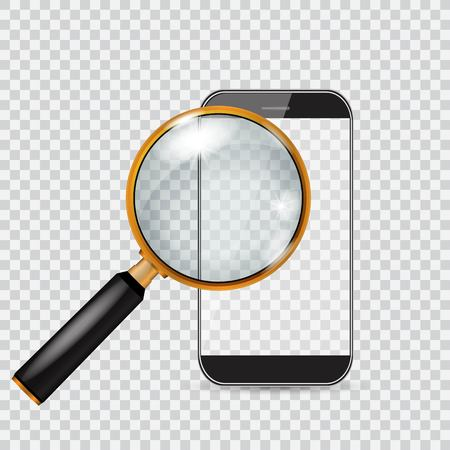Vector smartphone and magnifying glass