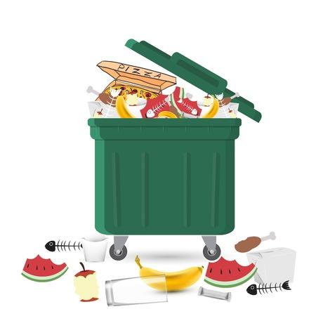 Un bidone della spazzatura pieno di rifiuti