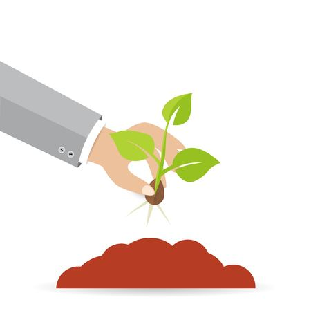Man hand planting seeds illustration on white background. Illustration