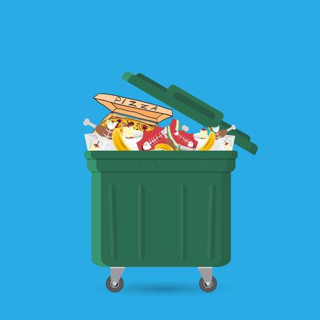 A full garbage can with waste.